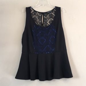 Forever 21+ Black and Blue Lace Peplum Top